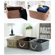 цены New Foldable Linen Cotton Storage Basket Japanese Style Clothes Storage Laundry Basket Sundries Organizer Toy Home Storage Box