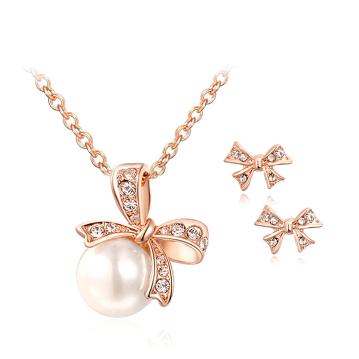 ZHOUYANG Top Quality ZYS245 Bowknot Rose Gold ColorJewelry Necklace Earring Set Rhinestone Made with Austrian Crystals