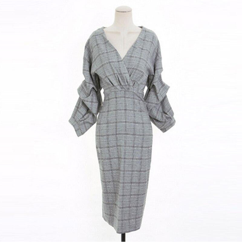 Dames élégant col en v robe femmes mode mince hanches robe fendue grille mince robe