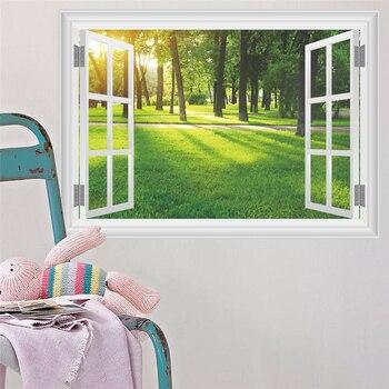 Autocollant Mural 3D en vinyle   Autocollant Mural vert forêt, rivière, paysage, arbre, rivière, chambre denfants, salon, canapé, décoration de fond de canapé