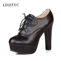 LDHZXC Female Lace Up Buckle Chunky Heel Sewing Autumn Casual High Heels 2017 Ladies Black Platform Pumps Woman Fashion Shoes