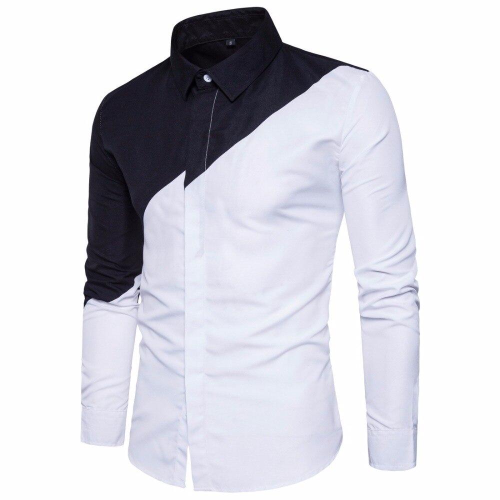 2018 Herren Baumwolle Schwarz Weiß Stitching Farbe Shirts Casual Slim Fit Mode Mann Revers Große Größe Lange ärmeln Shirts Männlichen S-2xl