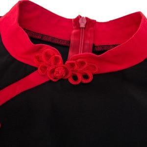 Image 5 - ملابس للسيدات بمقاسات كبيرة 3XL 4XL فستان عتيق لاستعادة الياقة القديمة لربيع وخريف الماندرين مرقع باللون الأسود والأحمر