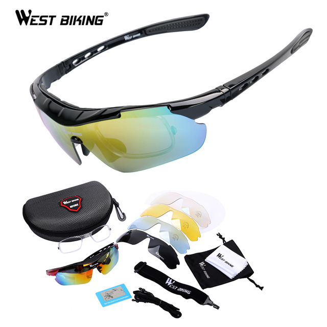 WEST BIKING Cycling Glasses Polarized Bike Bicycle Sunglasses 5 Lens ...