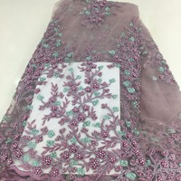 Royal Purple heavy beads lace fabric handmade beaded French Lace with 3D beads on Tulle mesh