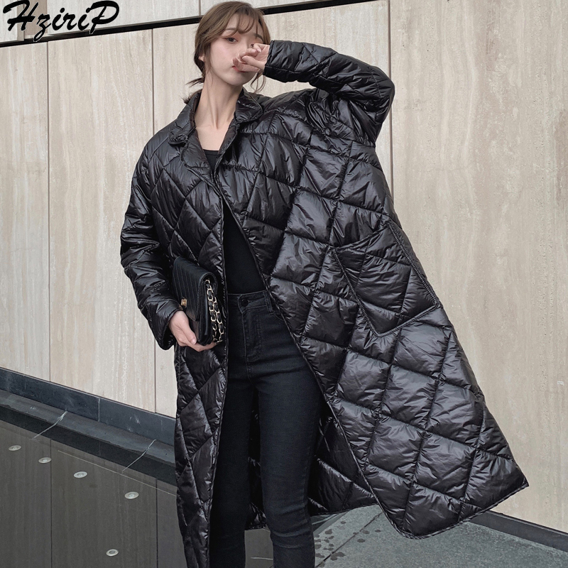 Hzirip 2019 New Design Korean Plaid Fashion Female Women Winter Autumn Slim Lace Solid Coat Thick