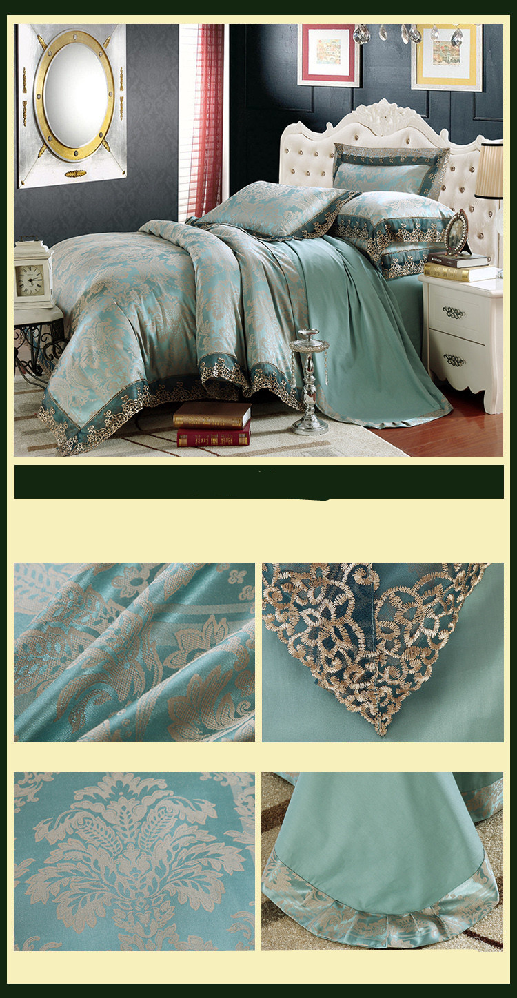 New Luxury Embroidery Tinsel Satin Silk Jacquard Bedding Set, Queen, King Size, 4pcs/6pcs 41