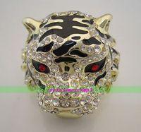 무료 배송> >>> 새로운 도금 호랑이 머리 크리스탈 반지 사이즈 8,9, 10 반지