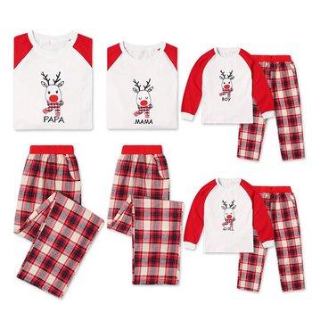 2 Pieces Set XMAS Family Matching Christmas Pajamas Set Women's Mens Kids Sleepwear Nightwear Plaid New Year Christmas Pjs CA486 Family Matching Outfits