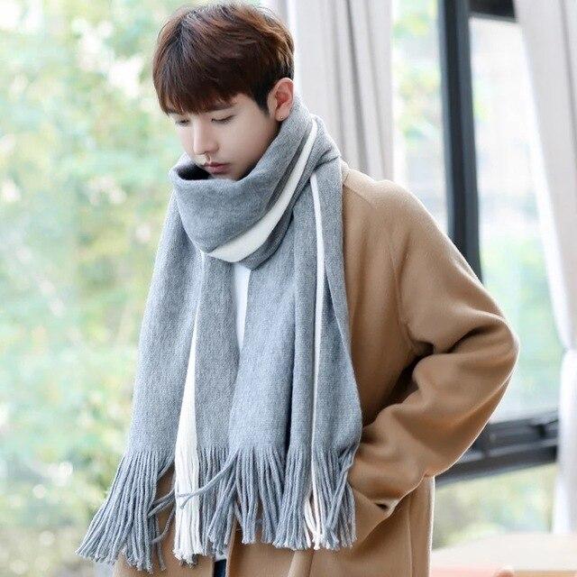bddb238fda6b Nouveaux hommes de mode d hiver version Coréenne de la sauvage simple  nouveau hommes écharpe tricoté longue section de jeunes étudiants écharpe€  9,19