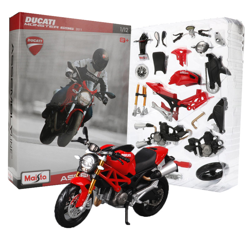 Maisto 1:12 assembly motorcycle model toy alloy motorbike ducati monster 696 2011 motor bicycle motor models vehicle toys for children