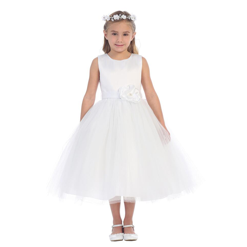 A-Line Flower Girls Dresses For Wedding Gowns Tulle Girl Birthday Party Dress Mid-Calf Kids Prom Dresses Mother Daughter Dresses new white ivory nice spaghetti straps sequined knee length a line flower girl dress beautiful square collar birthday party gowns