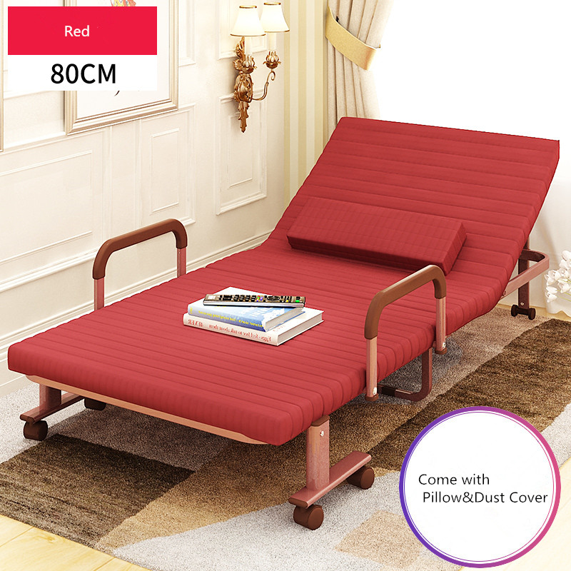 80cm Wide Folding Bed with Mattress Bedroom Furniture Rollaway Guest Bed for Adults and  ...
