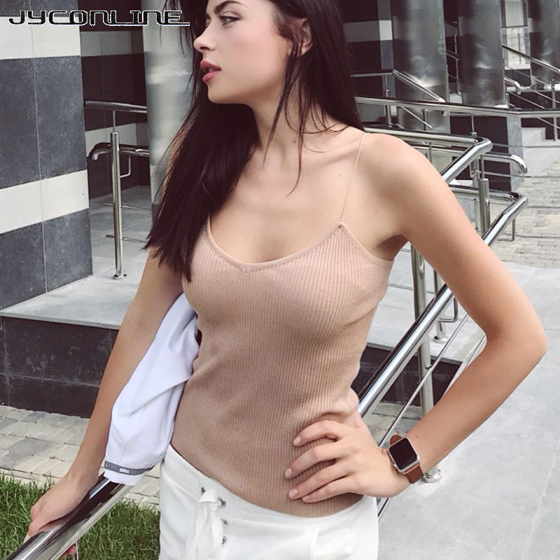 Hot 2019 knitted Tank Tops Women Camisole Vest Strappy Bralette Sexy Crop Top Women Vintage Tops Cropped Feminino Women T-shirt