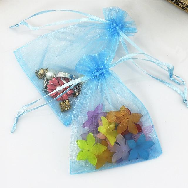 1000 Pcs Organza Wedding Favour Bags Jewelry Pouches Light Blue 9x12cm
