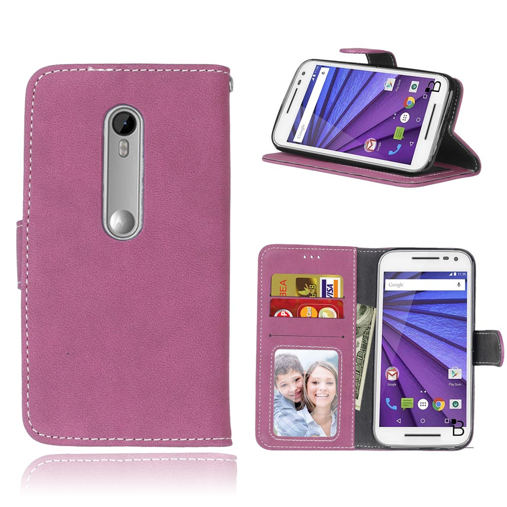 New Fashion PU Leather <font><b>Cases</b></font> For Motorola <font><b>Moto</b></font> <font><b>G3</b></font> Luxury <font><b>Phone</b></font> Simple Colors Book Style Luxury Magnetic Wallet Soft Cover Coque