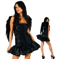 Free Shipping Women Sexy Dark Angel Costume Adult Halloween Cosplay Party Angel Fancy Pleated Dress With