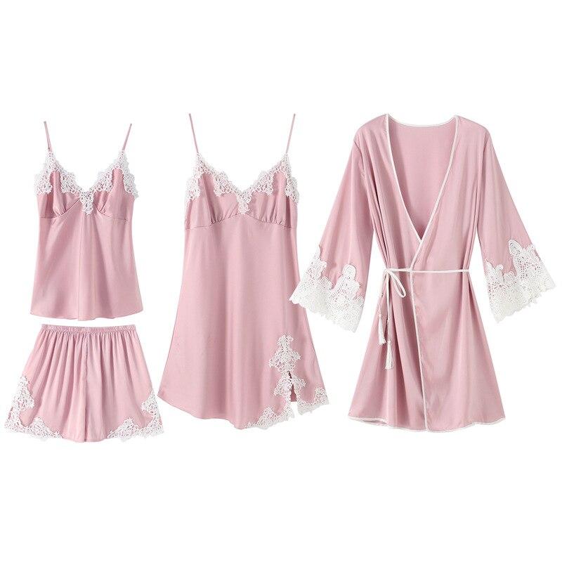 Rayonne vêtements de nuit femmes Kimono Robe de bain Sexy 4 pièces nuisettes printemps été rayonne Cami + Shorts + nuisette + Robe maison porter pyjama ensemble