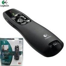 JSHFEI оптовая продажа logitech R400 2,4 г Hz мини беспроводного презентатора с светодиодный красный PPT Ведущий указатель лазерной ручки
