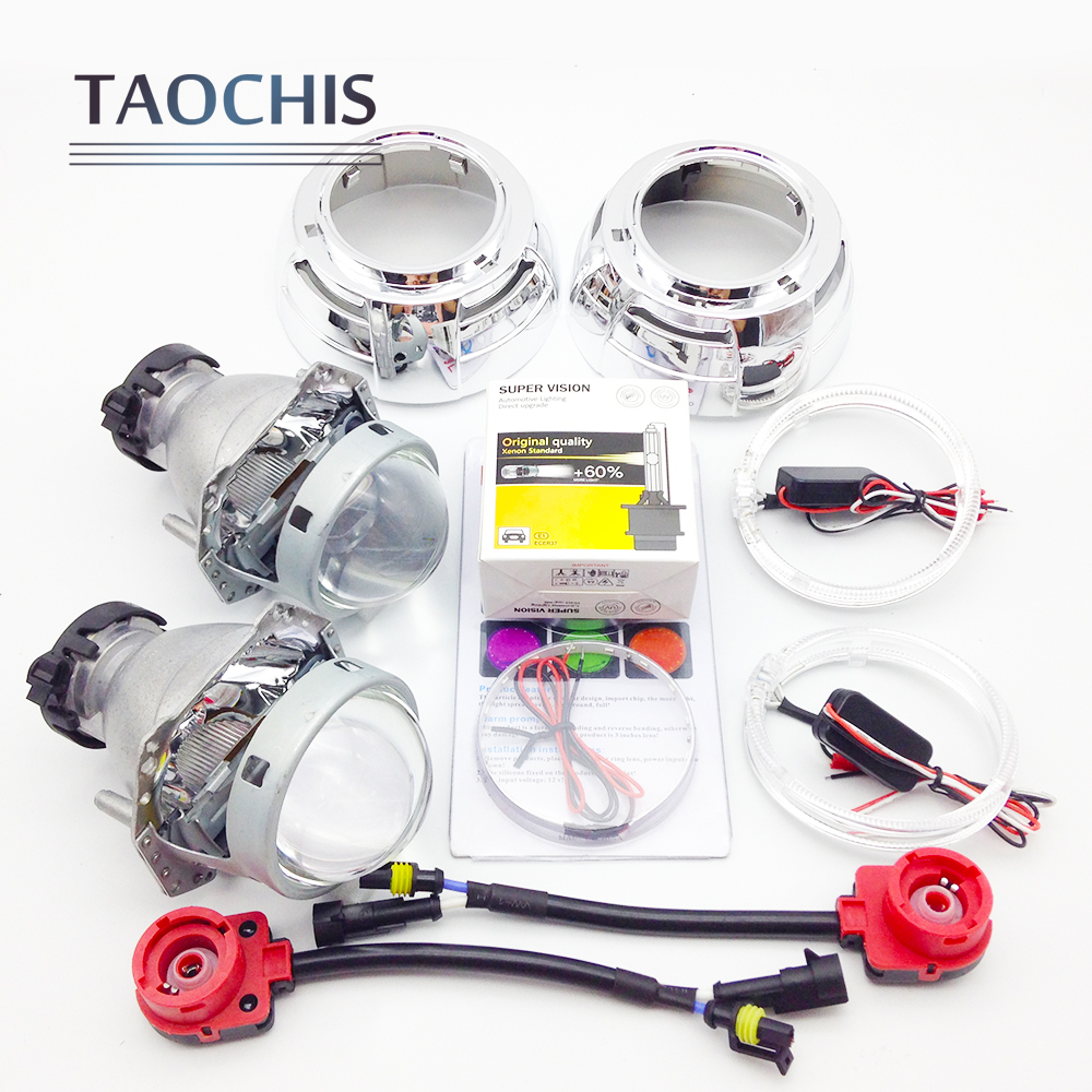 TAOCHIS 3.0 inch Bi xenon Hella Projector Lens HID D1S D3S D4S D2S Shroud Devil Angel Eyes Head Lamp Upgrade Demon eye