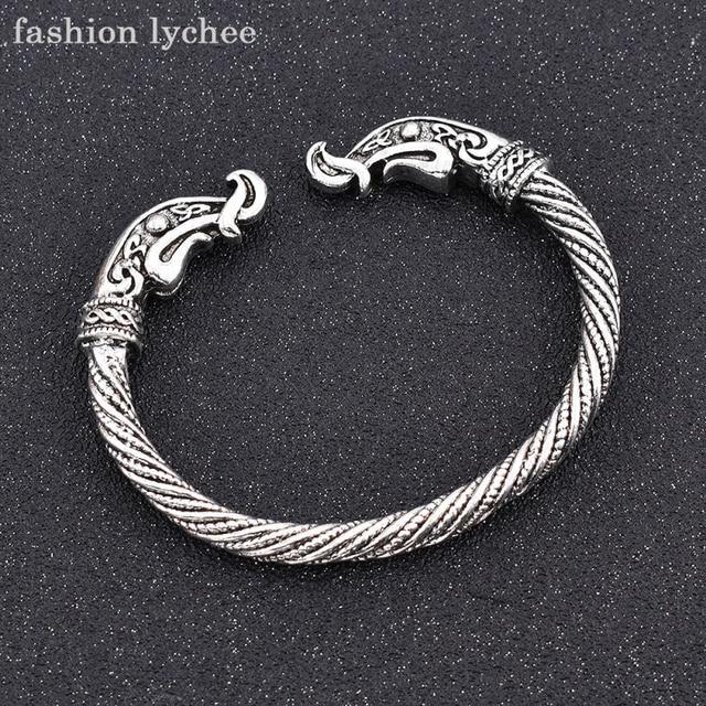 40fabe89c17a € 2.26 10% de DESCUENTO|Moda lychee vikingo Color plata abierto pulsera  brazalete para hombres mujeres brazaletes joyería accesorios de moda en ...