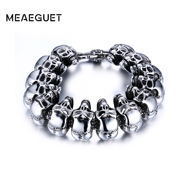 Meaeguet Rock Men Skull Bracelet Jewelry Stainless Steel Bracelets&Bangles for Men Party Jewelry Wholesale Bracelets meaeguet fashion stainless steel bike bracelet men biker bicycle motorcycle chain bracelets bangles jewelry