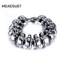 Meaeguet рок Для мужчин череп браслет ювелирных изделий Браслеты нержавеющей стали и Браслеты для Для мужчин партия оптовая продажа ювелирных изделий Браслеты