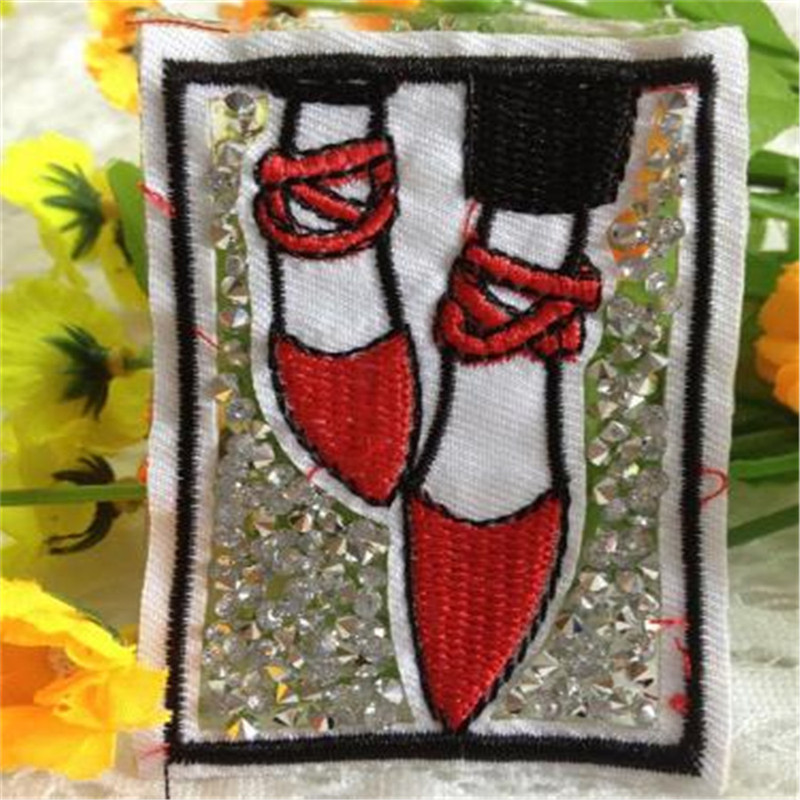 3D t shirt mens embroidery rhinestone patch deal with it 7m red shoes iron on patches for clothes t shirt Women free shipping