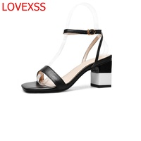 LOVEXSS Fashion Heel Shoes Temperament Wild Words Leather Retro Style Thick With Square Sandals Mature Heels