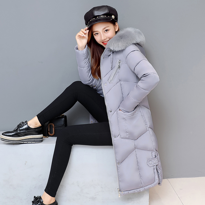 2017 Autumn Winter New Fahion Women's Down Jacket Hooded Cotton Long Fur Collar Slim Women Parkas Zipper Ladies Outwear Parkas the cat with seven names