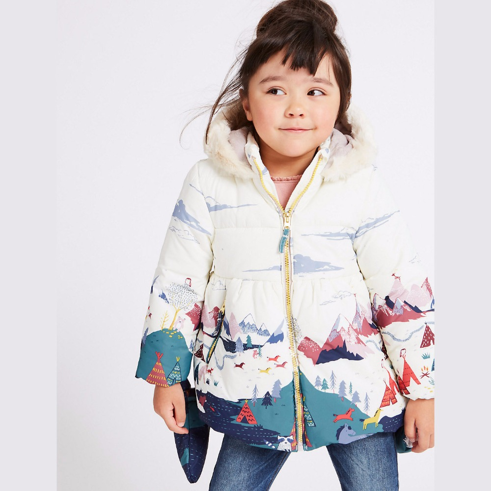Baby Girls Thick <font><b>Warm</b></font> Coats with Fleece Hooded Children Outerwear Down Jackets Girl Winter Clothes Print Kids Jacket with <font><b>Gloves</b></font>