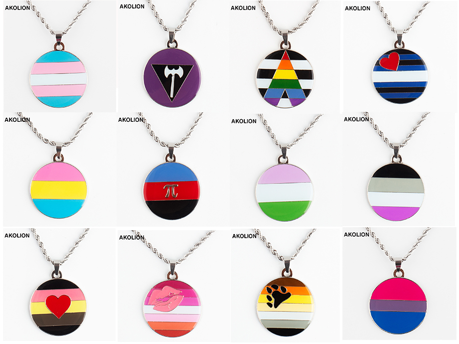 <font><b>Pride</b></font> Necklace Transgender <font><b>Bisexual</b></font> Lipstick Lesbian Genderqueer Straight Necklace XY0303 image