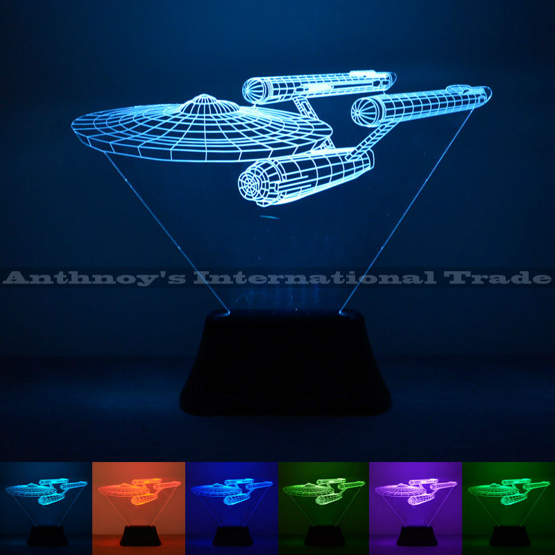 Star Trek Enterprise lamp 7 color changing visual illusion LED lamp 2016 fashion toy 3D light