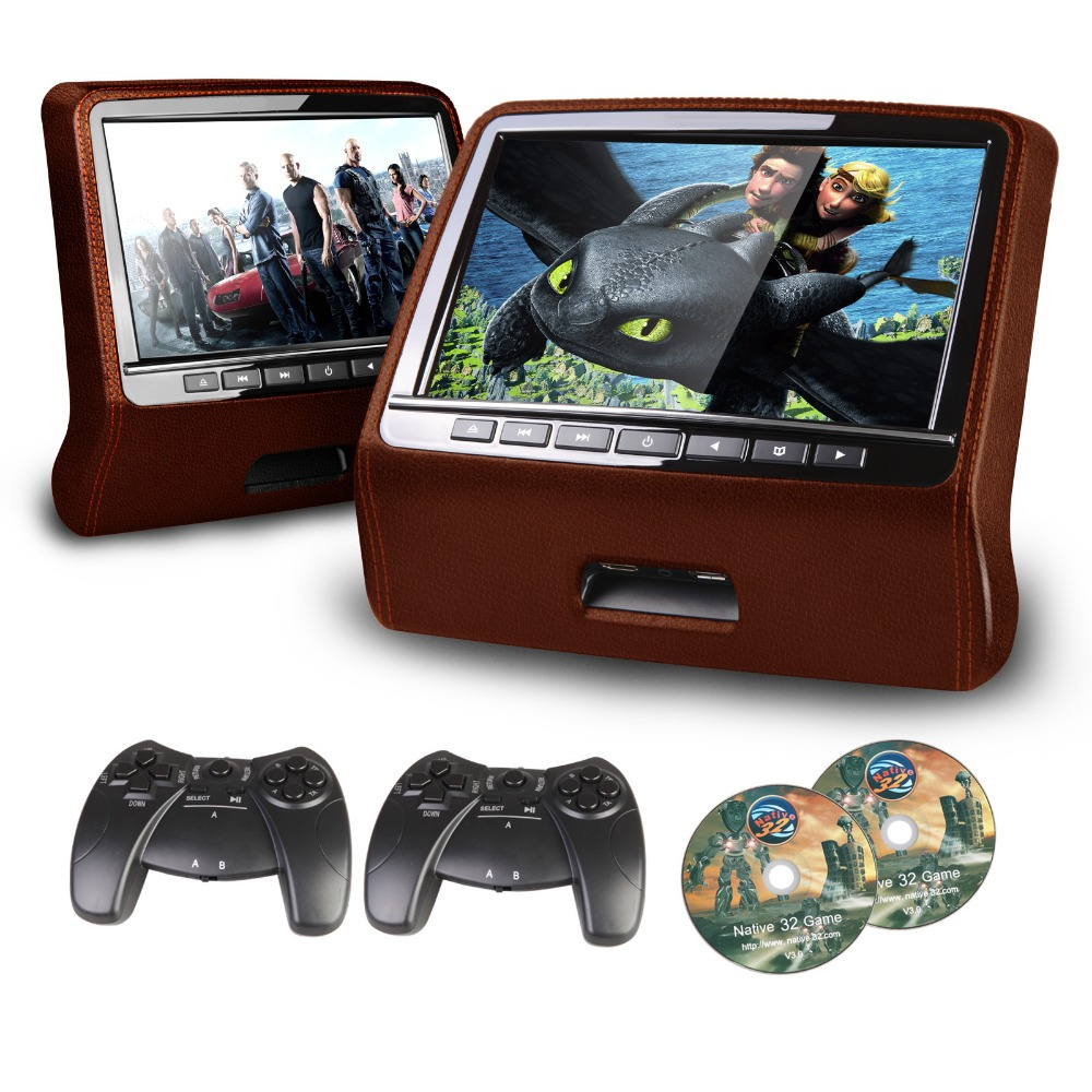 XTRONS Dvd-Player Car-Headrest Hdmi-Port Tft-Screen 9inch Brown with 2pcs Styled Digital