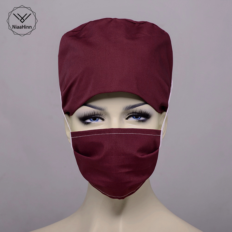 Solid Color White Red Surgical Cap Nurse Doctor Surgical Masks Hospital Adjustable Medical Hat Midwife Beauty Hat Sweat Towel