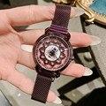 2019 luxus Rotation Blume Diamant frauen uhren magnetische uhr handgelenk uhren für frauen strass uhren damen-in Damenuhren aus Uhren bei