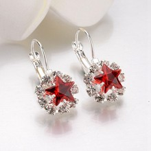 Luxury geometric Pendant Earrings For Women 6 Colors Star  Round Crystal aretes Silver Alloy Hoop Fashion Jewelry Gifts