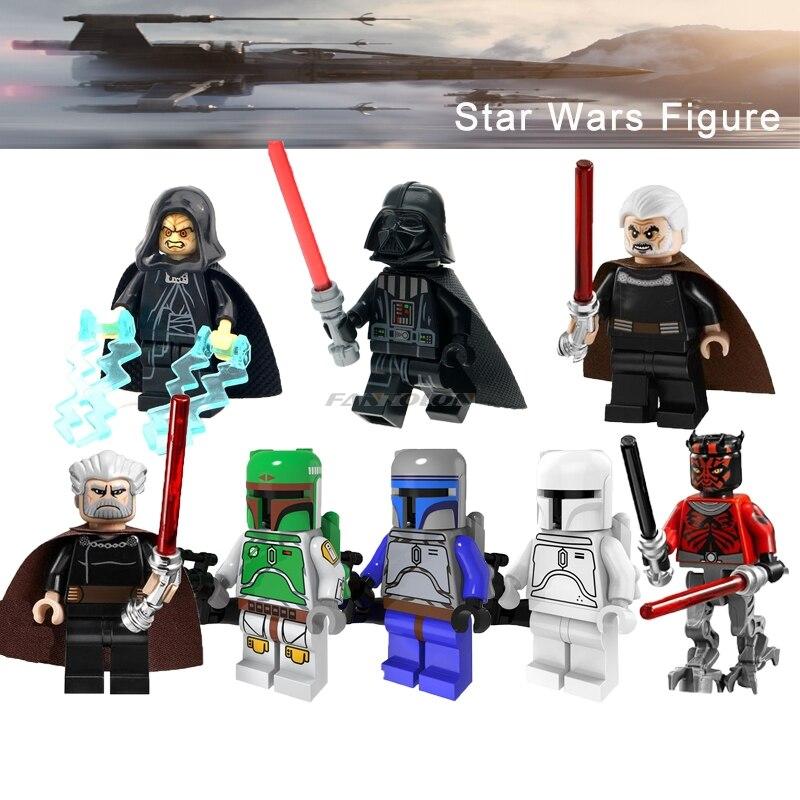 Force Awakens Legoingly Star Wars Boba Fett Jango Fett Darth Vader Palpatine Count Dooku Darth Maul Building Blocks Starwars Toy