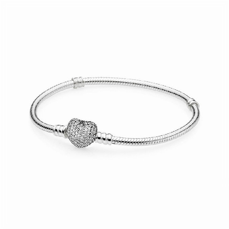 Clear CZ Crystal Heart Shape Clasp Snake Chain Silver Bracelets for Women Fashion Sterling Silver 925 Jewelry DIY AccessoriesClear CZ Crystal Heart Shape Clasp Snake Chain Silver Bracelets for Women Fashion Sterling Silver 925 Jewelry DIY Accessories