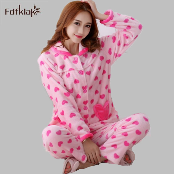 a3a8e6ff52e New Autumn winter flannel pajamas thickening women sets sleepwear sweet female  girl lovely printing Indoor Clothing Home Suit-in Pajama Sets from  Underwear ...