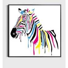 100% Hand Painted Morden Colorful Zebra Art Painting On Canvas Wall Adornment Picture For Live Room Home Decor