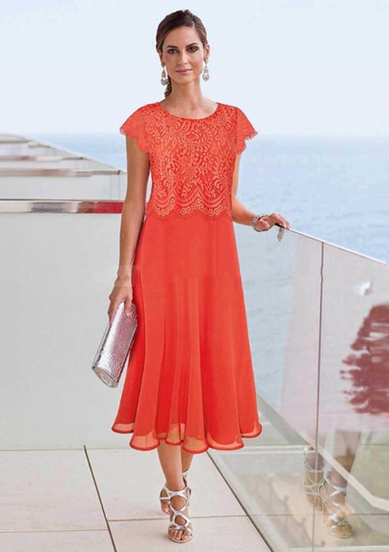 orange tea length mother of the bride dresses 2019 beach