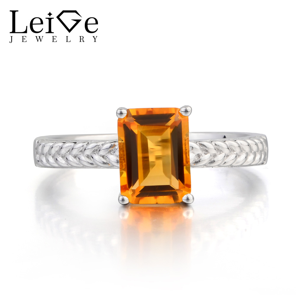 Leige Jewelry Natural Citrine Ring Citrine Promise Ring Yellow Gemstone Solid 925 Sterling Silver Ring Solitaire Ring for Women топ женский insight citrine yellow