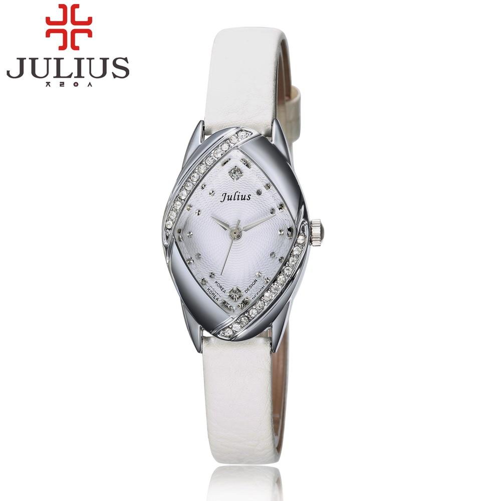 JULIUS Brand Women Watches Leather Strap Ladies Bracelet Watch Luxury Crystal Female Quartz Wristwatch Montre Relogio Reloj