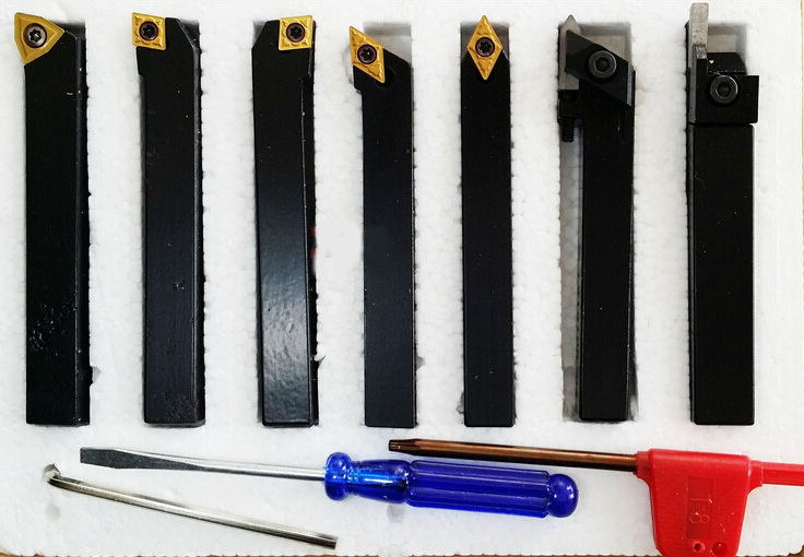 10mm 7pcs/set indexable carbide turning tool set with insert for CNC machine, Tincoated