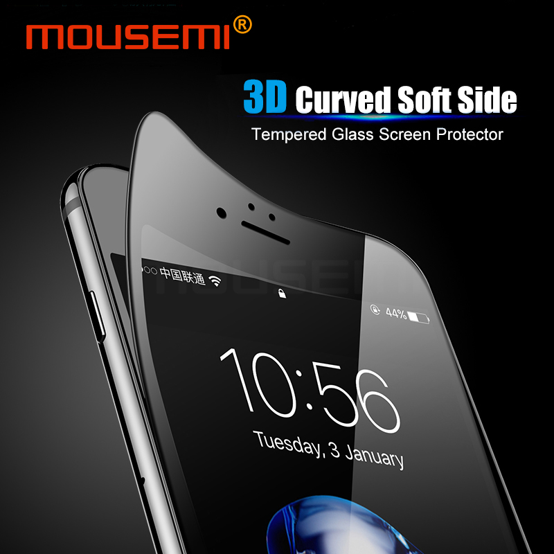 Galleria fotografica MOUSEMI Tempered Glass For iPhone 6 6s 7 8 Glass Full Cover, 9H Curved Soft Film Screen Protector 6 7 8 Plus On Glass For iPhone