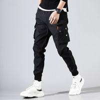Брюки карго мужские однотонные черные свободные повседневные брюки для бега с карманами с эластичной резинкой на талии