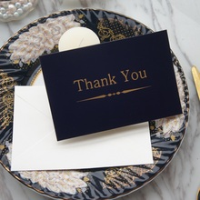 gold 25pcs deep blue line thank you Card with envelope greeting card wedding birthday party invitation DIY Decor gift