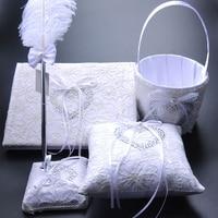 5Pcs/set Wedding Decoration Accessories Satin Wedding Ring Pillow + Flower Basket + Guest Book + Pen Set + Garter Product Supply
