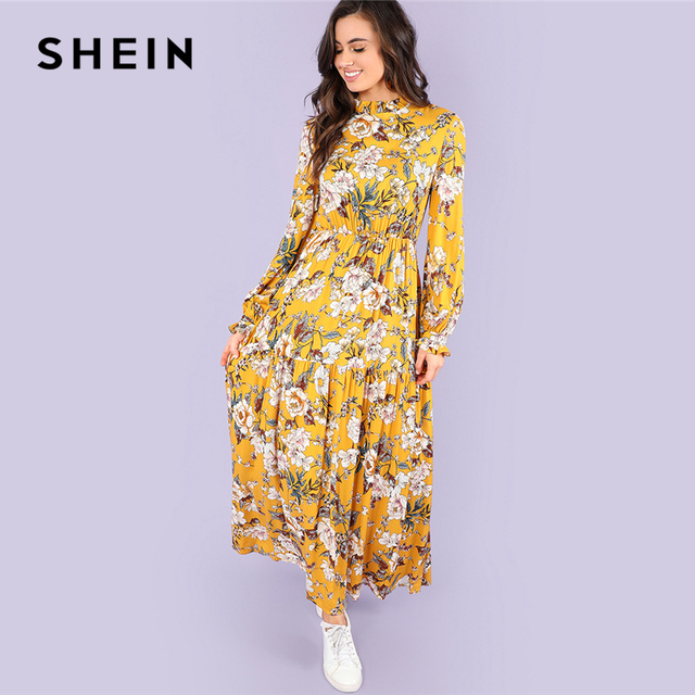 f58f8fce6a SHEIN Multicolor Holiday Vacation Mock Neck Floral Print Stand Collar Natural  Waist Maxi Dress Women Autumn